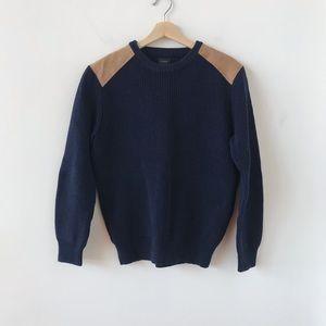 J Crew navy crew neck sweater leather shoulders